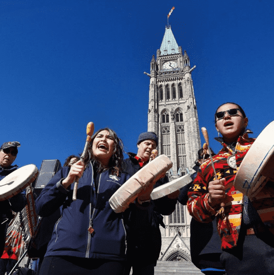 Drumming and singing on Parliament Hill