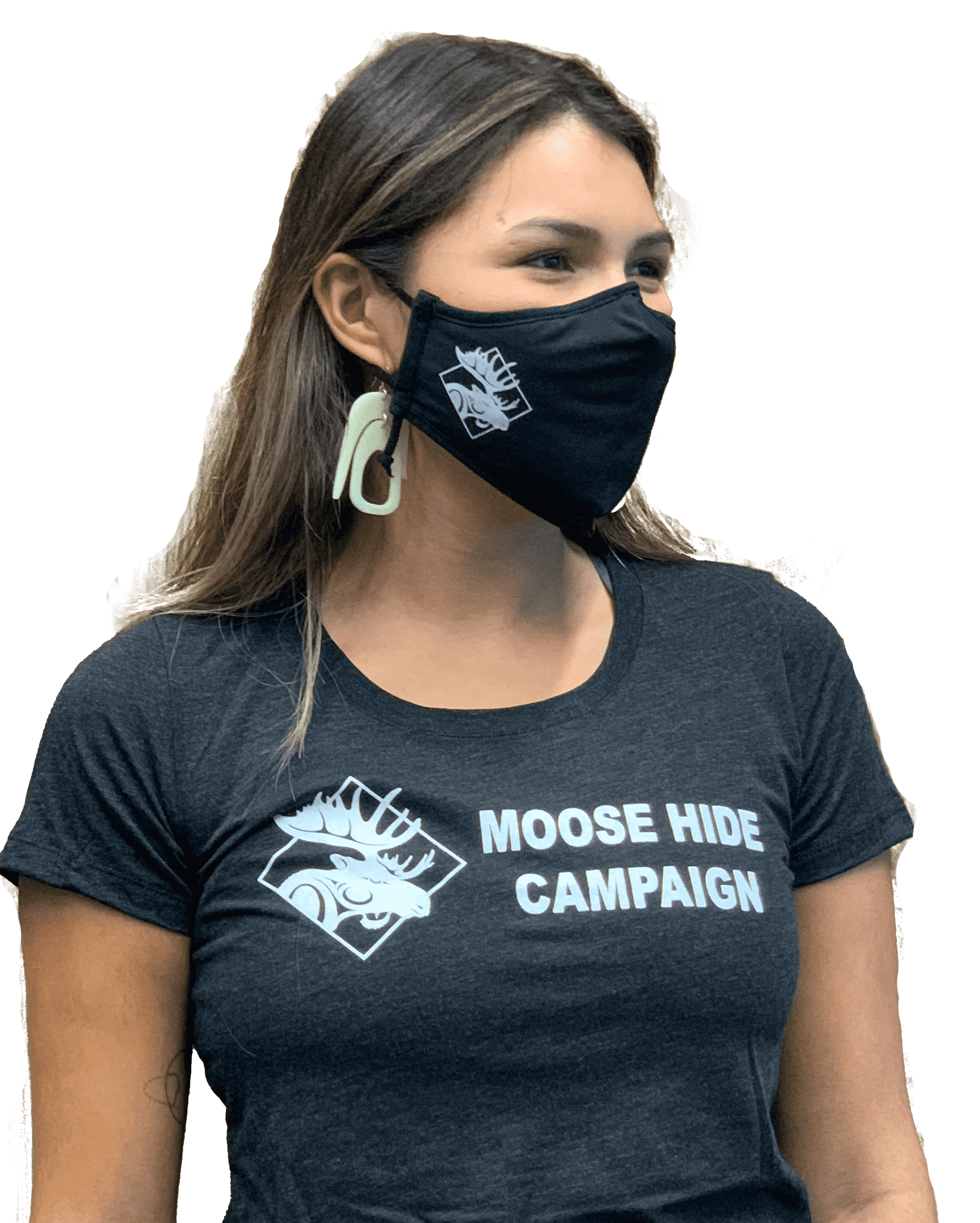 Sage Lacerte wearing tshirt and mask